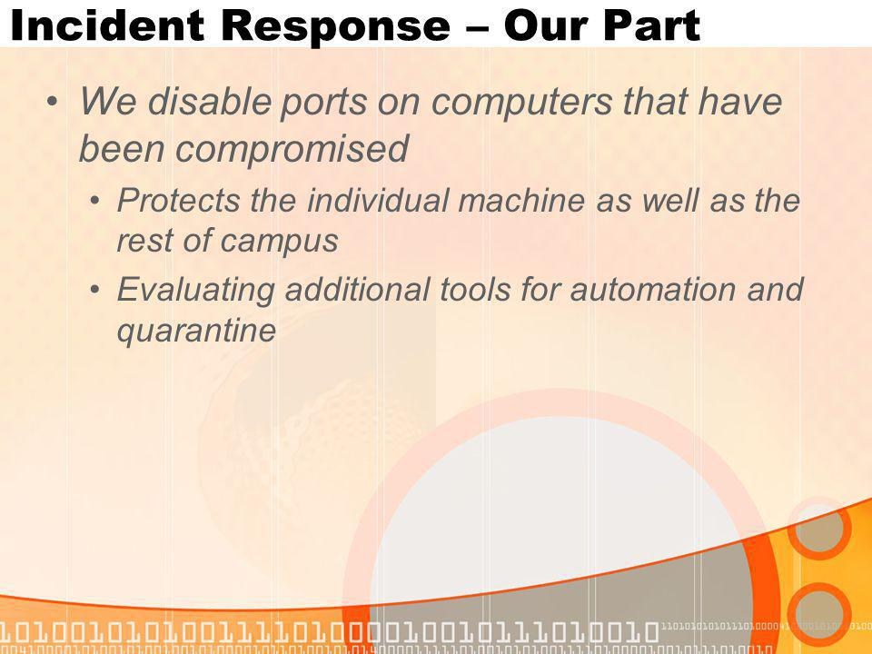Incident Response – Our Part We disable ports on computers that have been compromised Protects the individual machine as well as the rest of campus Evaluating additional tools for automation and quarantine