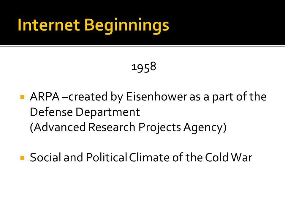 1958 ARPA –created by Eisenhower as a part of the Defense Department (Advanced Research Projects Agency) Social and Political Climate of the Cold War
