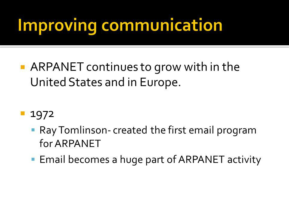 ARPANET continues to grow with in the United States and in Europe.