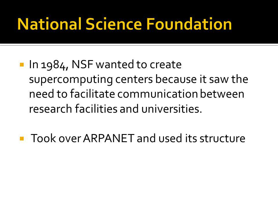 In 1984, NSF wanted to create supercomputing centers because it saw the need to facilitate communication between research facilities and universities.