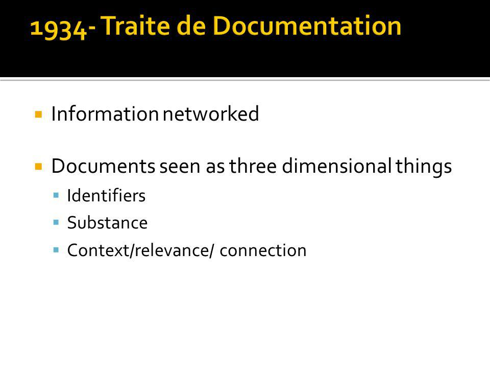 Information networked Documents seen as three dimensional things Identifiers Substance Context/relevance/ connection