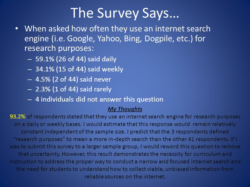 The Survey Says… When asked how often they use an internet search engine (i.e. Google, Yahoo, Bing, Dogpile, etc.) for research purposes: – 59.1% (26