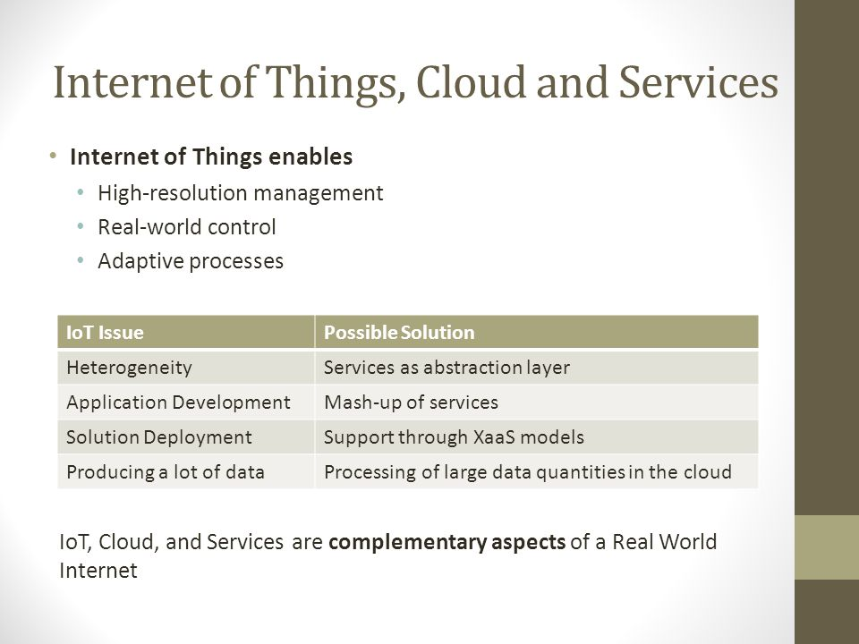 Internet of Things, Cloud and Services Internet of Things enables High-resolution management Real-world control Adaptive processes IoT IssuePossible S