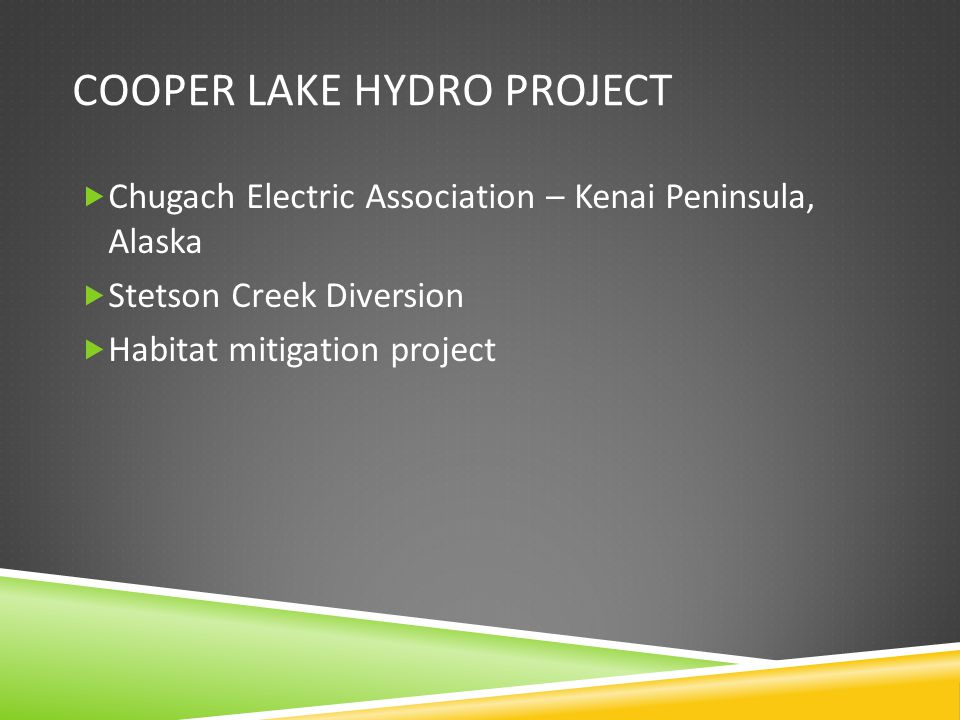 COOPER LAKE HYDRO PROJECT Chugach Electric Association – Kenai Peninsula, Alaska Stetson Creek Diversion Habitat mitigation project