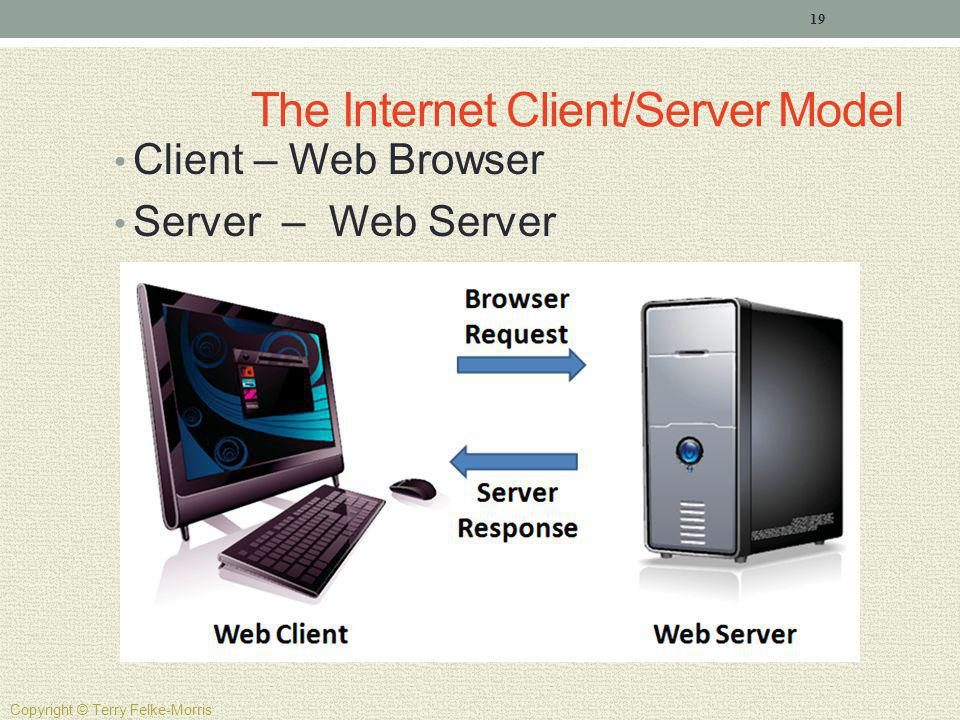 The Internet Client/Server Model Client – Web Browser Server – Web Server 19 Copyright © Terry Felke-Morris