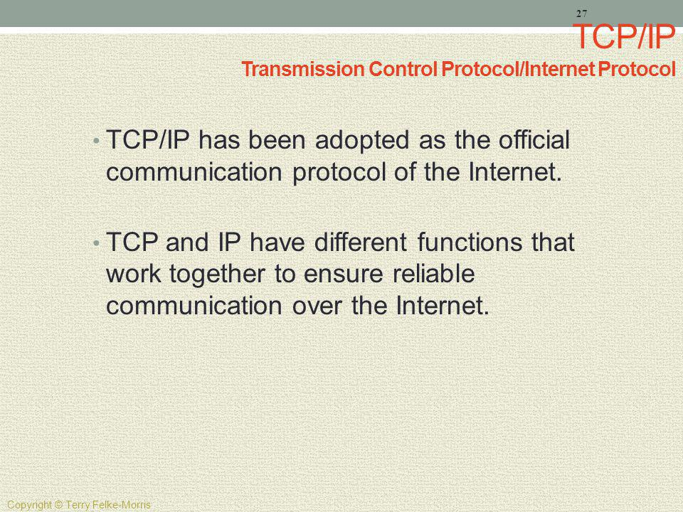 TCP/IP Transmission Control Protocol/Internet Protocol TCP/IP has been adopted as the official communication protocol of the Internet. TCP and IP have