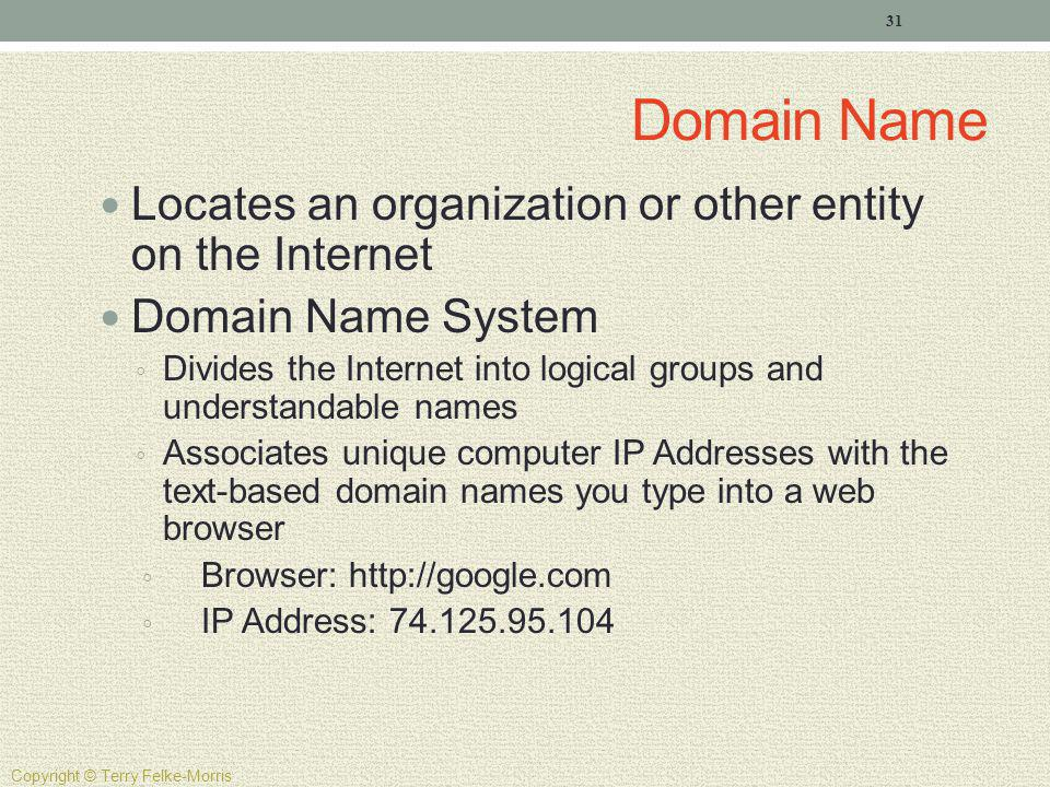 Domain Name Locates an organization or other entity on the Internet Domain Name System Divides the Internet into logical groups and understandable nam