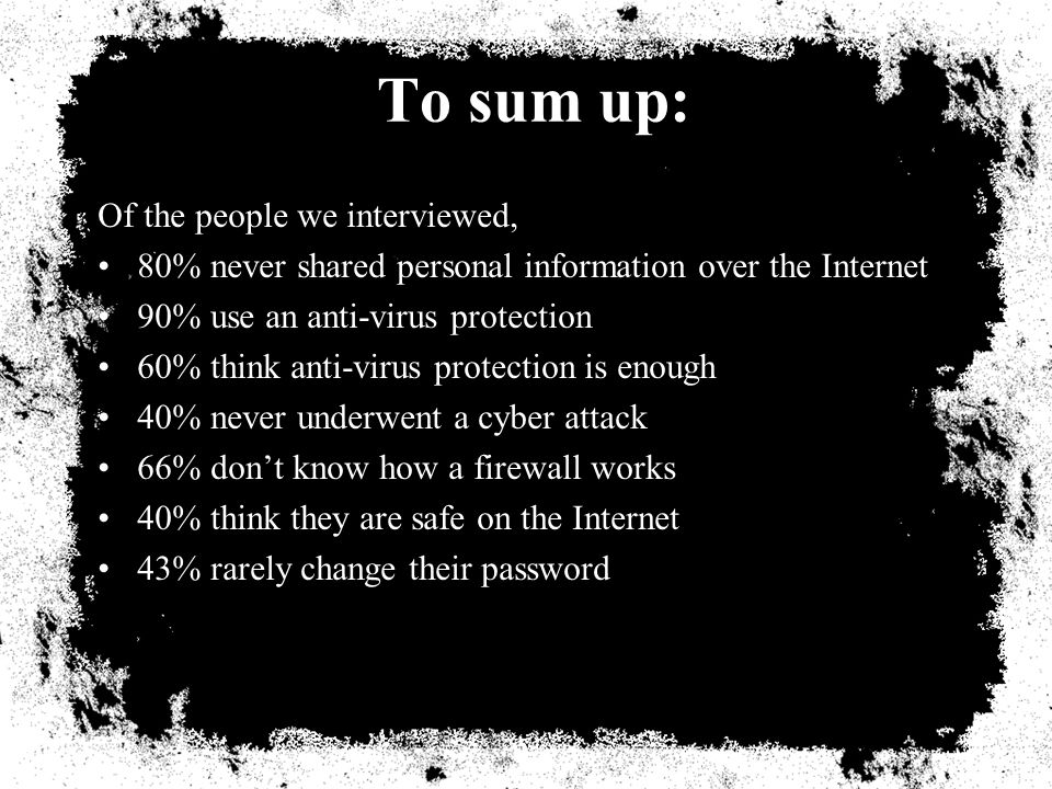 To sum up: Of the people we interviewed, 80% never shared personal information over the Internet 90% use an anti-virus protection 60% think anti-virus protection is enough 40% never underwent a cyber attack 66% dont know how a firewall works 40% think they are safe on the Internet 43% rarely change their password