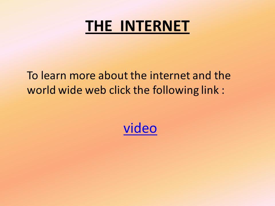 THE INTERNET Address bar hyperlinks