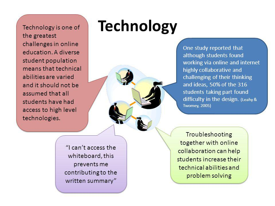 Technology I cant access the whiteboard, this prevents me contributing to the written summary Troubleshooting together with online collaboration can help students increase their technical abilities and problem solving Technology is one of the greatest challenges in online education.