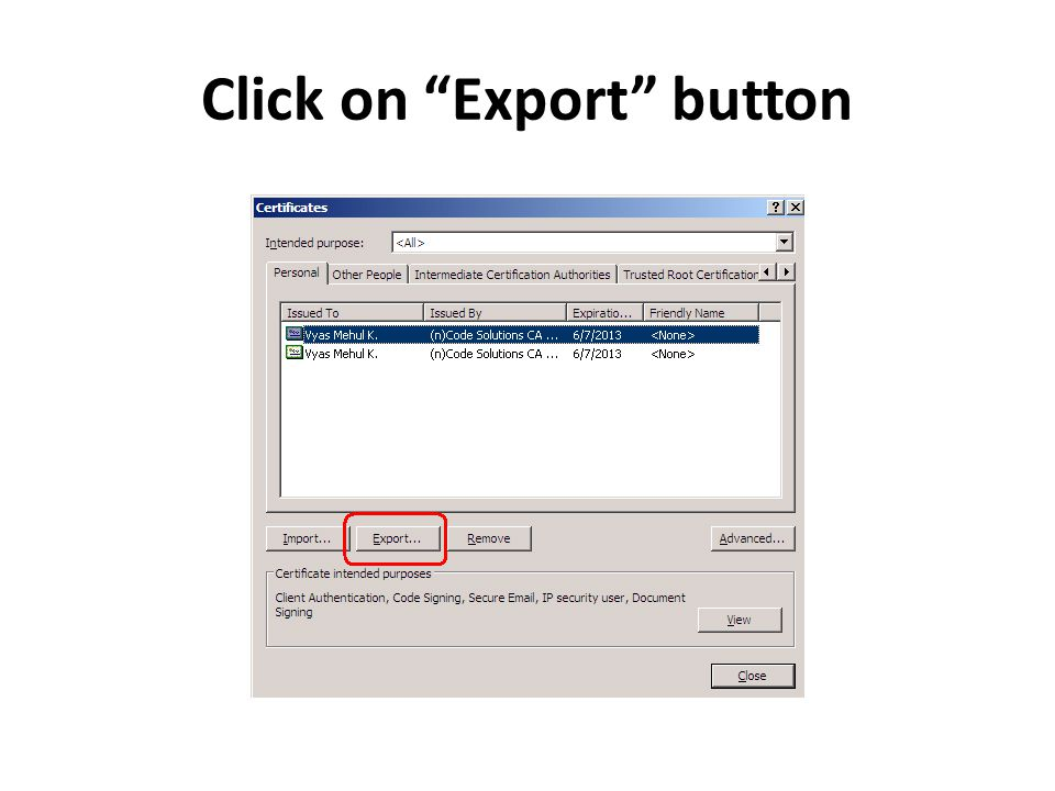 Click on Export button