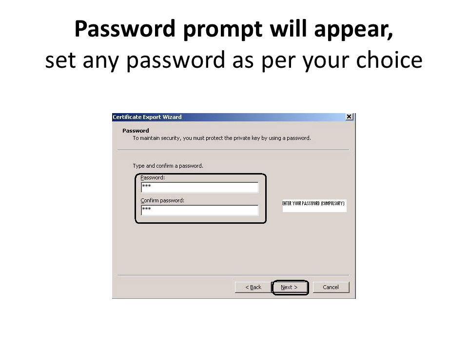 Password prompt will appear, set any password as per your choice
