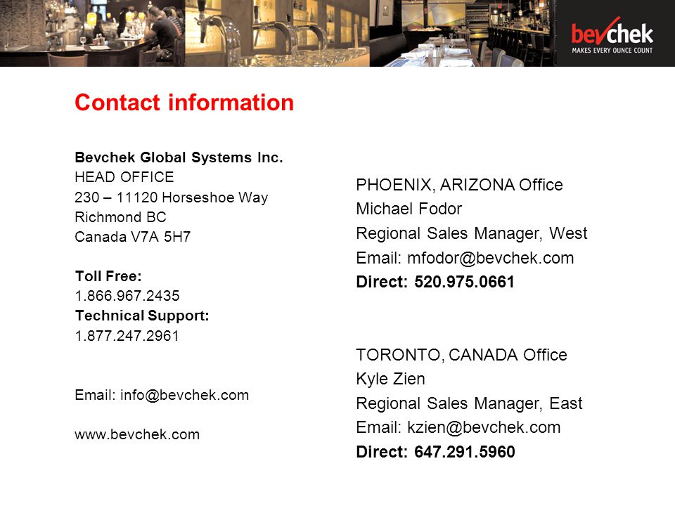 Contact information Bevchek Global Systems Inc.