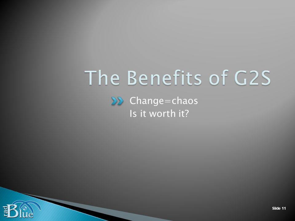 Slide 11 Change=chaos Is it worth it