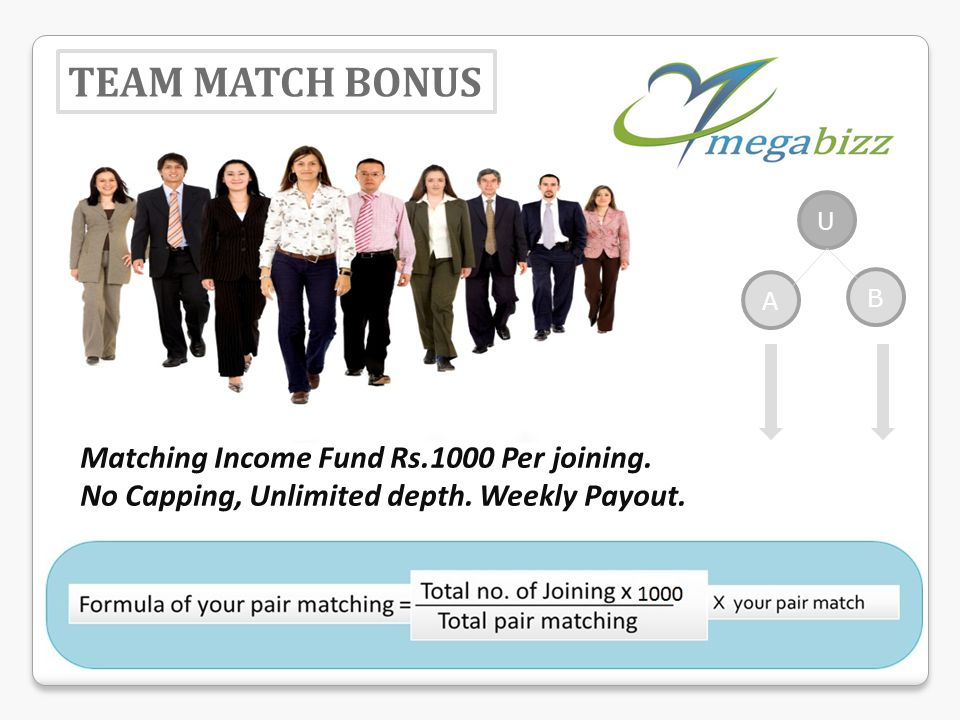 U B A TEAM MATCH BONUS Matching Income Fund Rs.1000 Per joining. No Capping, Unlimited depth. Weekly Payout.