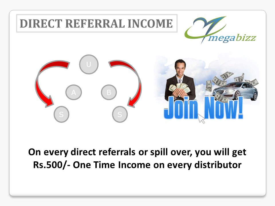 DIRECT REFERRAL INCOME On every direct referrals or spill over, you will get Rs.500/- One Time Income on every distributor U AB SS