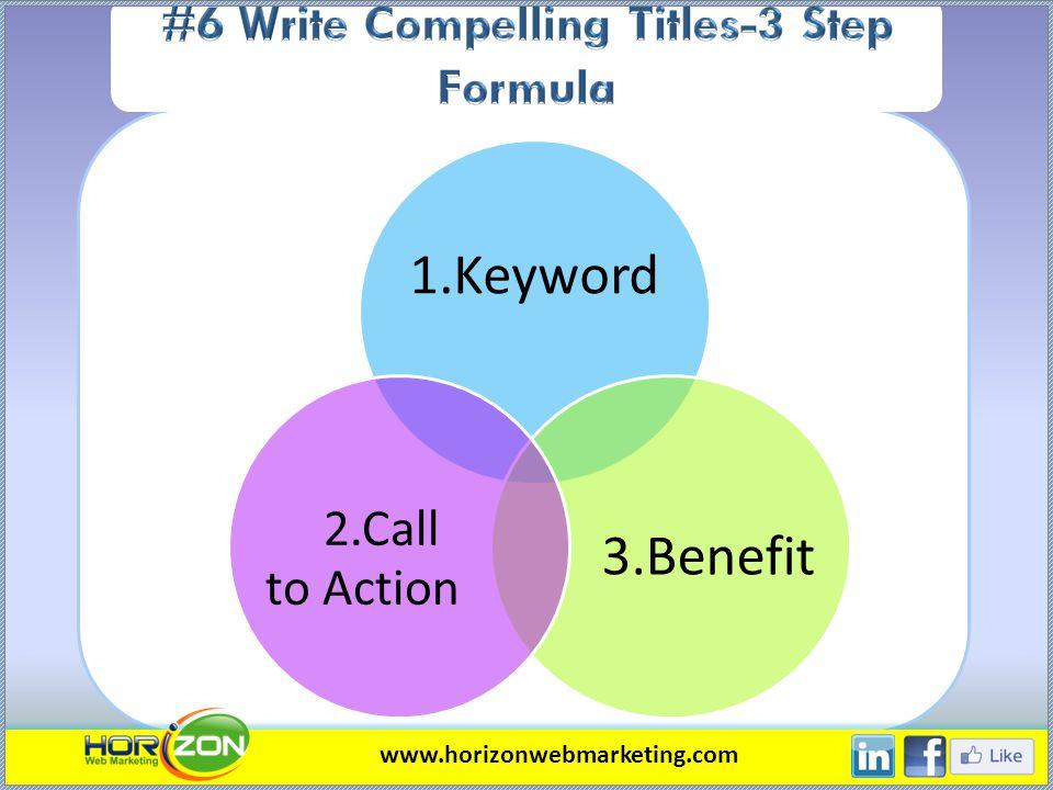 1.Keyword 3.Benefit 2.Call to Action www.horizonwebmarketing.com
