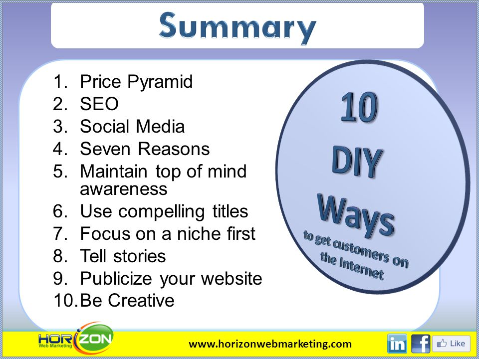 1.Price Pyramid 2.SEO 3.Social Media 4.Seven Reasons 5.Maintain top of mind awareness 6.Use compelling titles 7.Focus on a niche first 8.Tell stories
