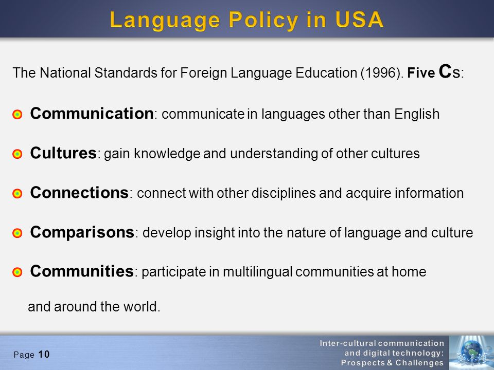 Page 10 The National Standards for Foreign Language Education (1996).