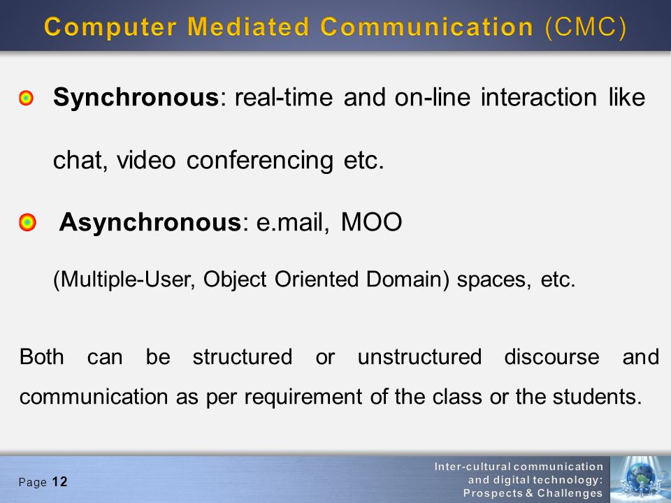 Page 12 Synchronous: real-time and on-line interaction like chat, video conferencing etc. Asynchronous: e.mail, MOO (Multiple-User, Object Oriented Do
