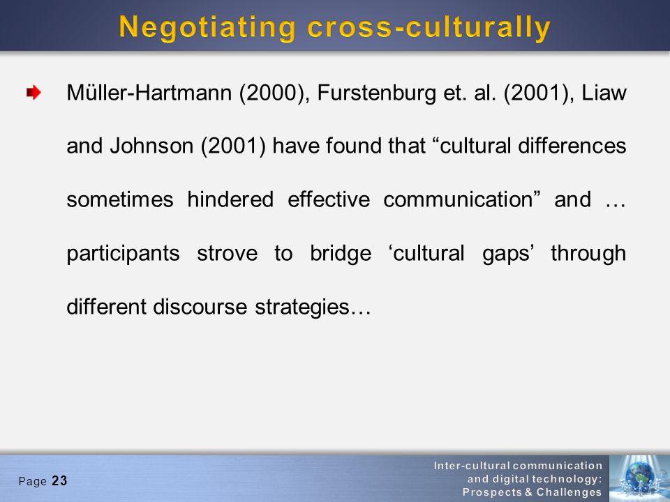 Page 23 Müller-Hartmann (2000), Furstenburg et. al.
