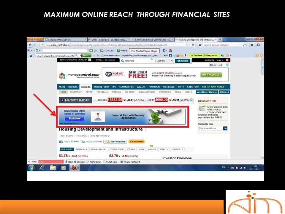 MAXIMUM ONLINE REACH THROUGH FINANCIAL SITES