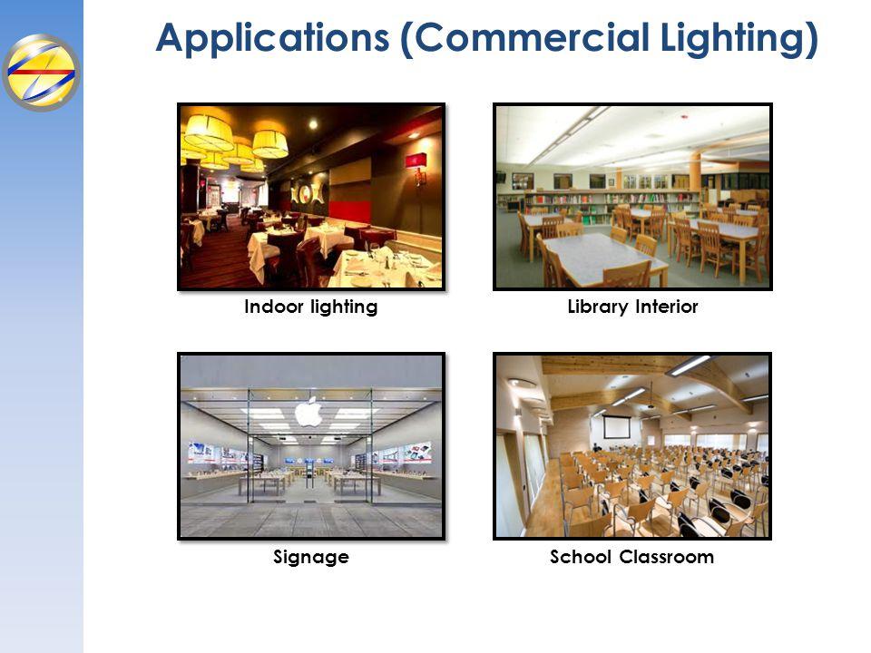 Applications (Commercial Lighting) Indoor lighting Signage Library Interior School Classroom