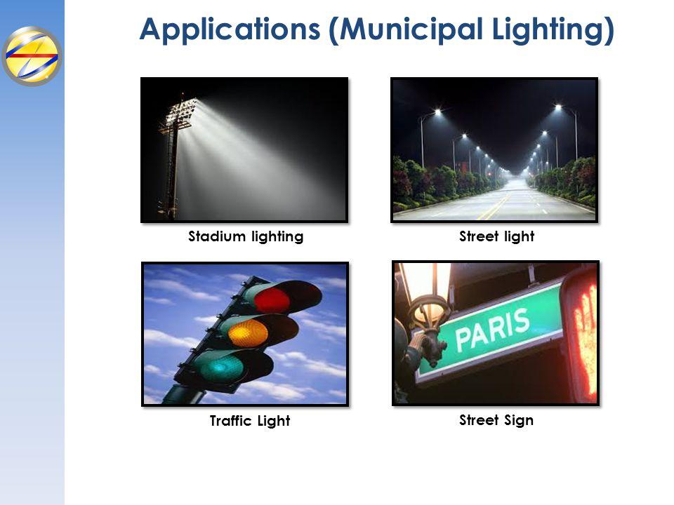 Applications (Municipal Lighting) Stadium lighting Traffic Light Street light Street Sign