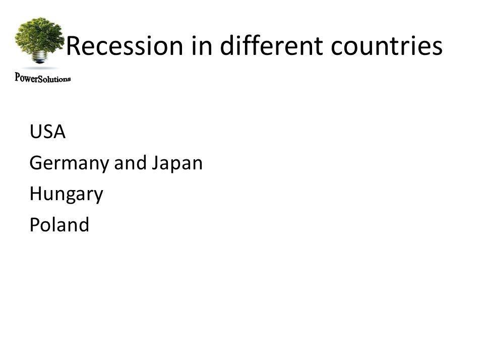 Recession in different countries USA Germany and Japan Hungary Poland