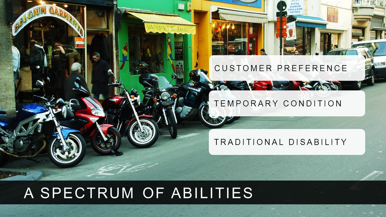 A SPECTRUM OF ABILITIES CUSTOMER PREFERENCE TEMPORARY CONDITION TRADITIONAL DISABILITY