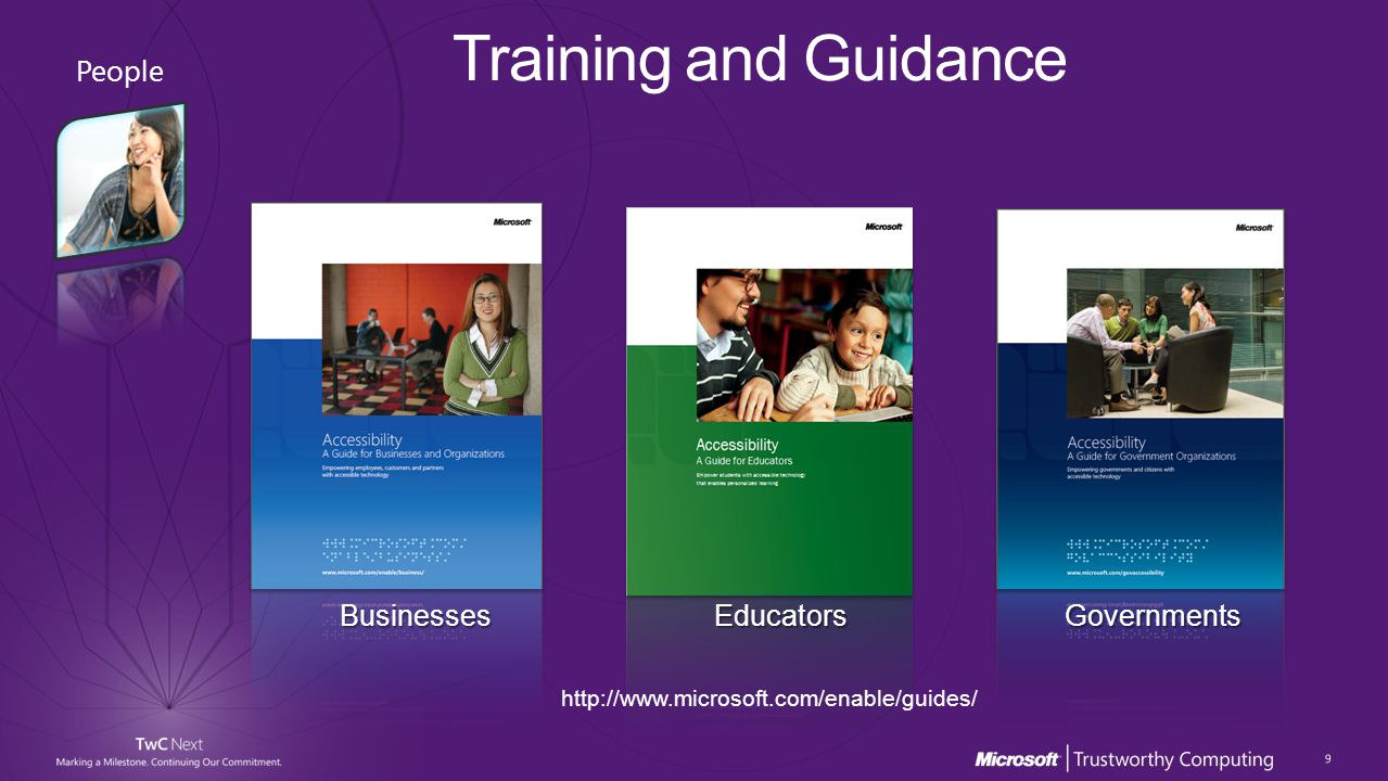 BusinessesEducatorsGovernments http://www.microsoft.com/enable/guides/