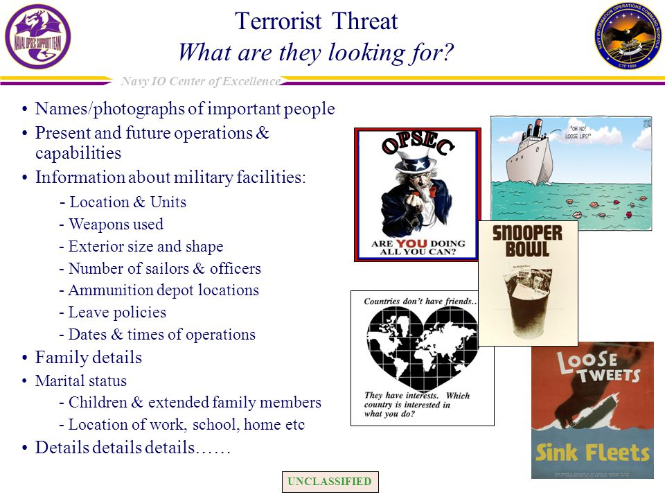 UNCLASSIFIED Navy IO Center of Excellence Terrorist Threat What are they looking for.