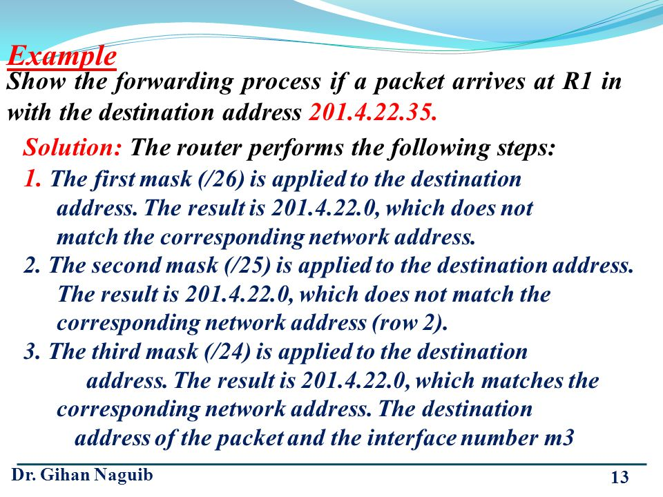 Dr. Gihan Naguib 13 Show the forwarding process if a packet arrives at R1 in with the destination address 201.4.22.35. Example Solution: The router pe