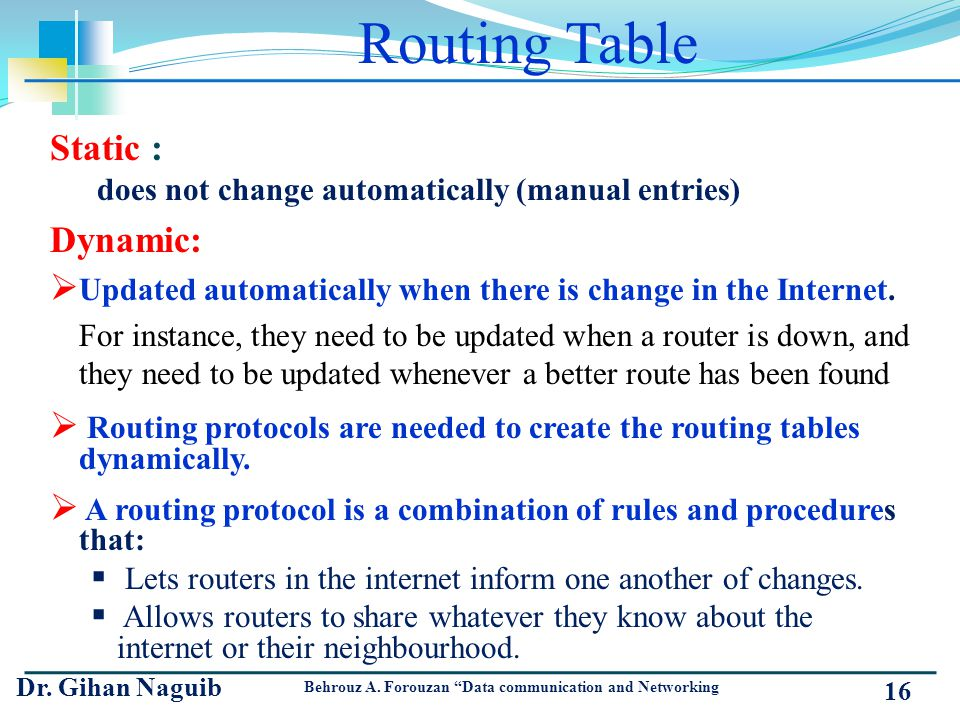 Routing Table Static : does not change automatically (manual entries) Dynamic: Updated automatically when there is change in the Internet. For instanc