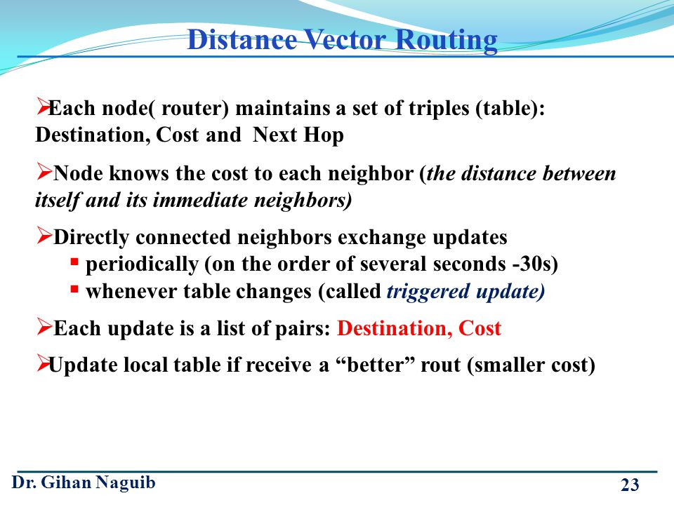 Dr. Gihan Naguib 23 Each node( router) maintains a set of triples (table): Destination, Cost and Next Hop Node knows the cost to each neighbor (the di