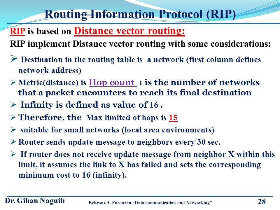 Routing Information Protocol (RIP) RIP is based on Distance vector routing: RIP implement Distance vector routing with some considerations: Destinatio