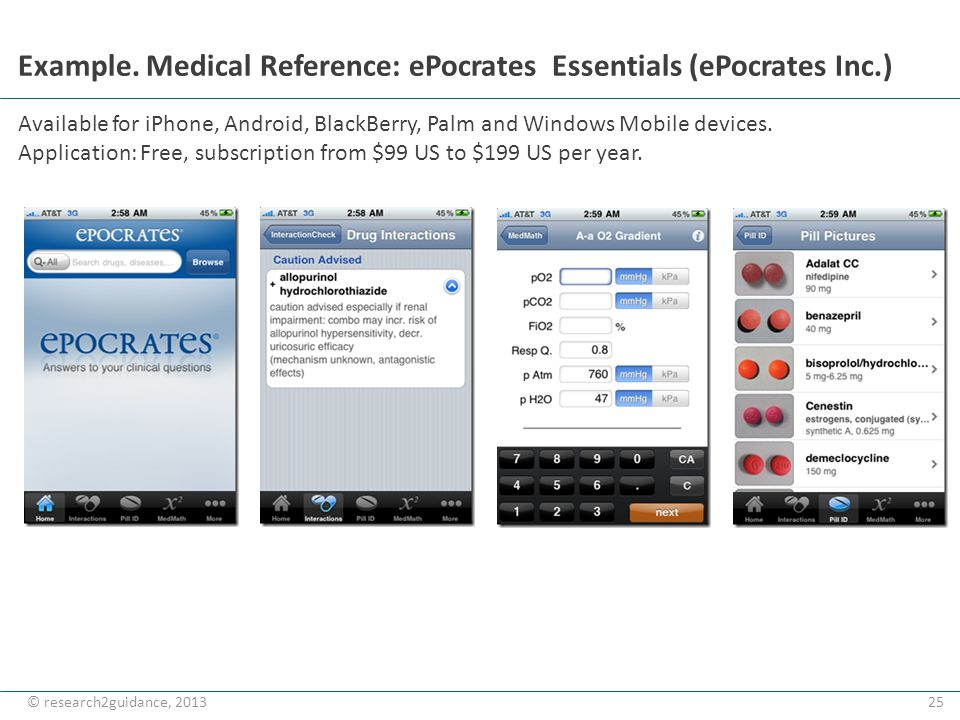 25© research2guidance, 2013 Example. Medical Reference: ePocrates Essentials (ePocrates Inc.) Available for iPhone, Android, BlackBerry, Palm and Wind