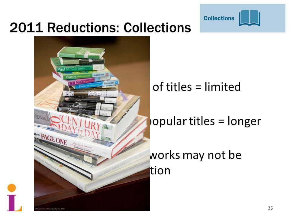 2011 Reductions: Collections Result: Smaller selection of titles = limited choices Fewer copies of popular titles = longer wait times Some important works may not be part of our collection 36