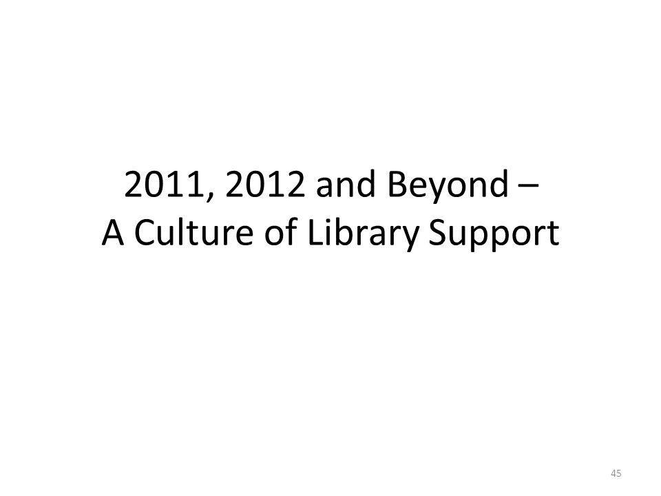 2011, 2012 and Beyond – A Culture of Library Support 45