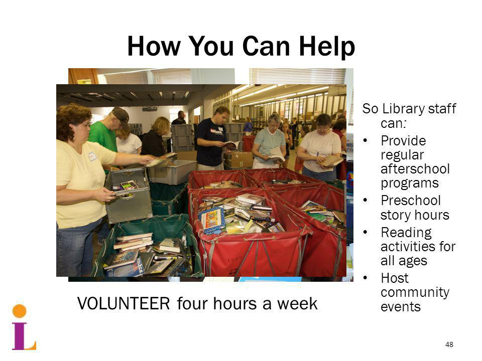 How You Can Help So Library staff can: Provide regular afterschool programs Preschool story hours Reading activities for all ages Host community events VOLUNTEER four hours a week 48