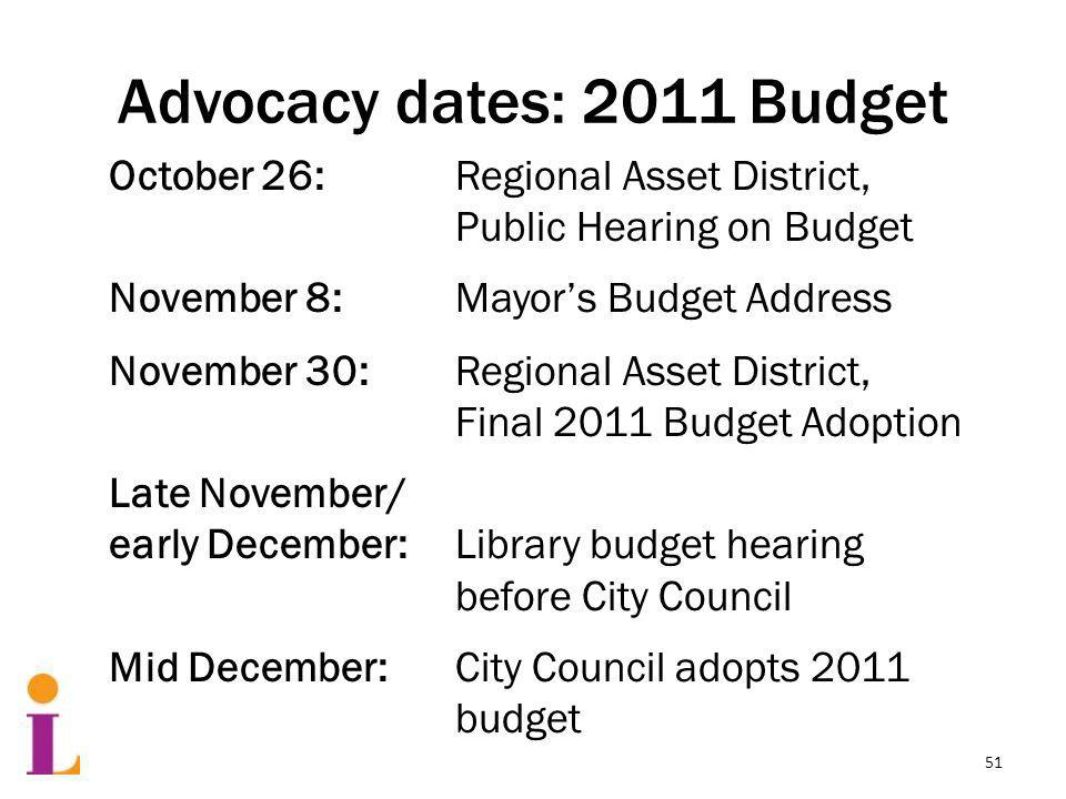 Advocacy dates: 2011 Budget October 26: Regional Asset District, Public Hearing on Budget November 8: Mayors Budget Address November 30: Regional Asset District, Final 2011 Budget Adoption Late November/ early December: Library budget hearing before City Council Mid December:City Council adopts 2011 budget 51