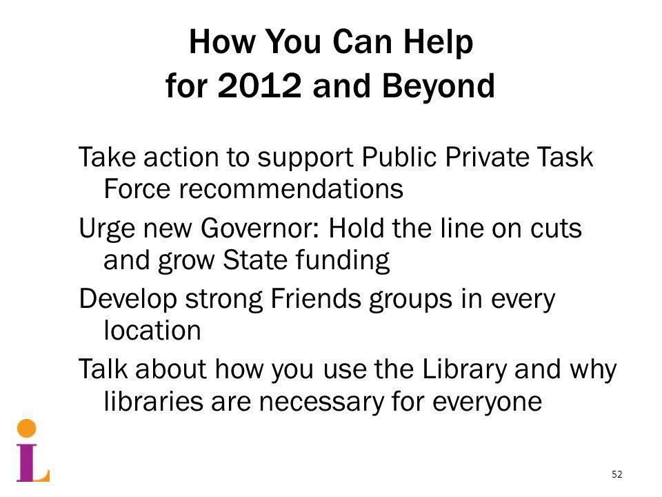 How You Can Help for 2012 and Beyond Take action to support Public Private Task Force recommendations Urge new Governor: Hold the line on cuts and grow State funding Develop strong Friends groups in every location Talk about how you use the Library and why libraries are necessary for everyone 52
