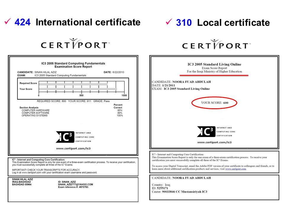 424 International certificate 310 Local certificate