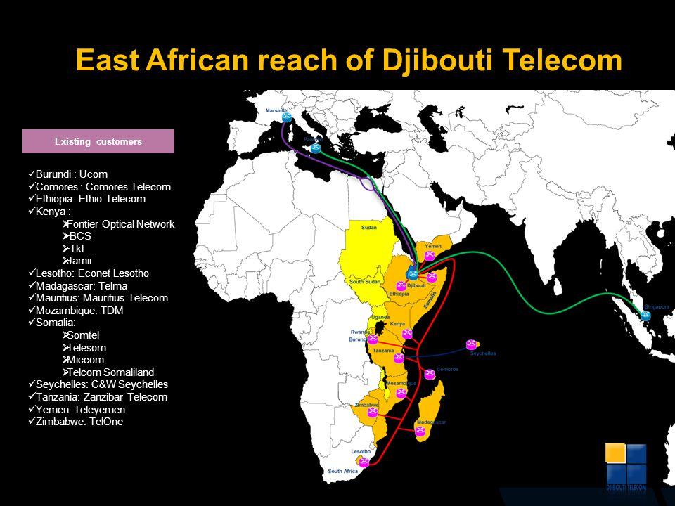 Burundi : Ucom Comores : Comores Telecom Ethiopia: Ethio Telecom Kenya : Fontier Optical Network BCS Tkl Jamii Lesotho: Econet Lesotho Madagascar: Tel