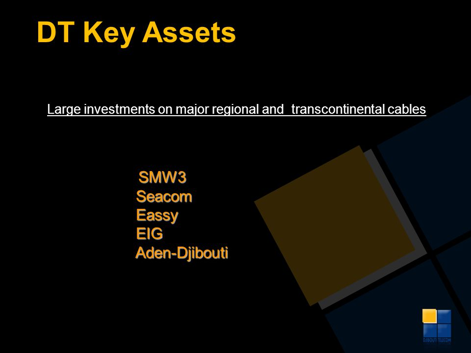 DT Key Assets Large investments on major regional and transcontinental cables SMW3 Seacom Seacom Eassy Eassy EIG EIG Aden-Djibouti Aden-Djibouti