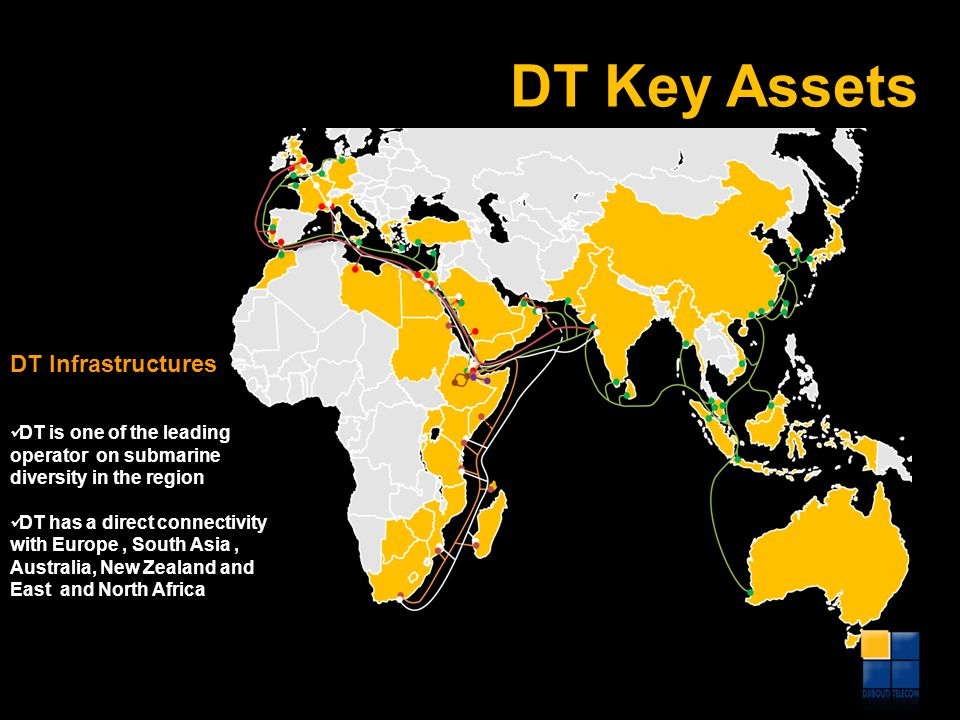 DT Key Assets DT is one of the leading operator on submarine diversity in the region DT has a direct connectivity with Europe, South Asia, Australia,