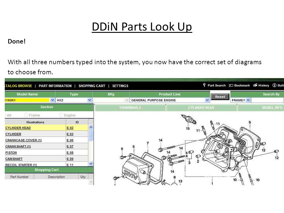 DDiN Parts Look Up Done! With all three numbers typed into the system, you now have the correct set of diagrams to choose from.