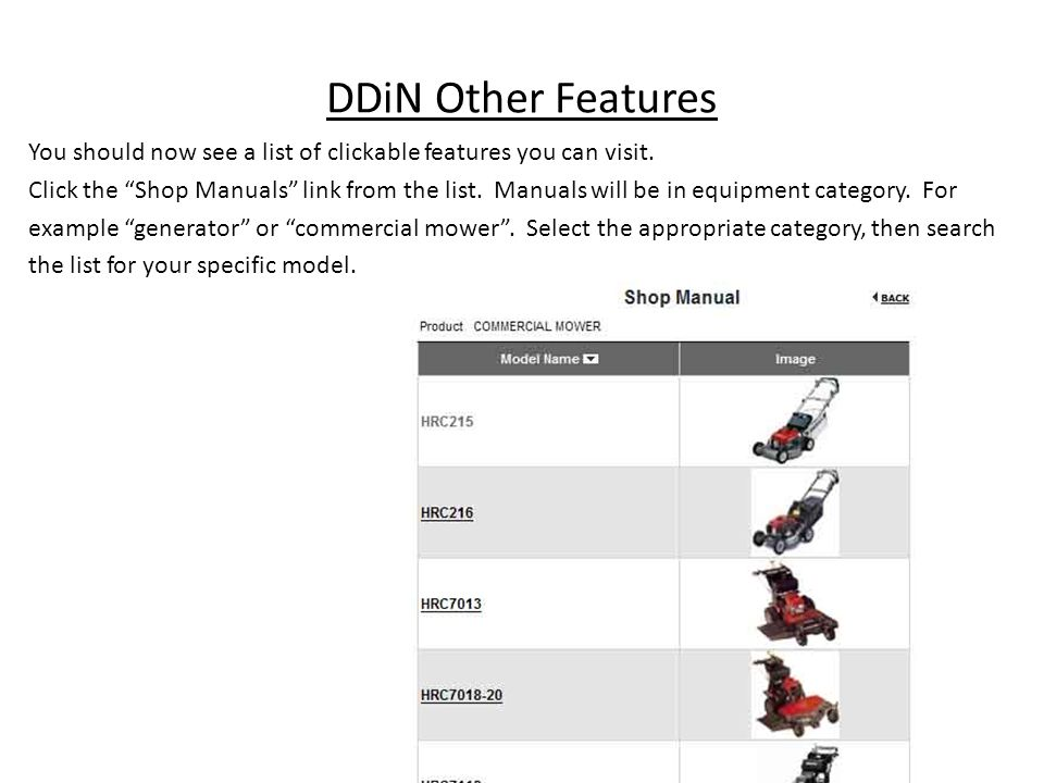 DDiN Other Features You should now see a list of clickable features you can visit. Click the Shop Manuals link from the list. Manuals will be in equip