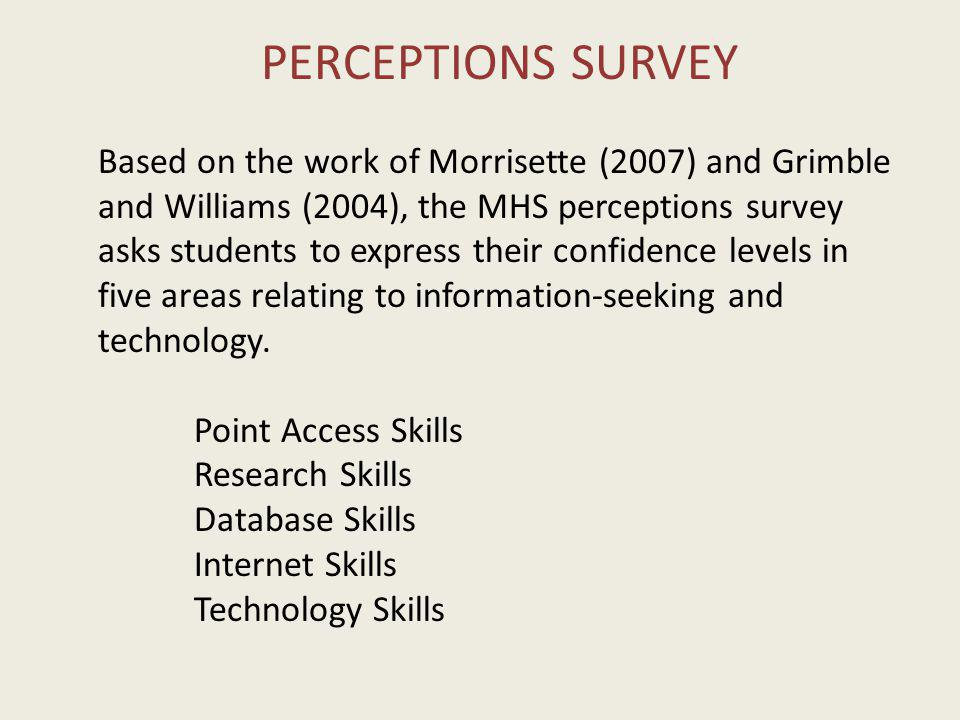 PERCEPTIONS SURVEY Based on the work of Morrisette (2007) and Grimble and Williams (2004), the MHS perceptions survey asks students to express their confidence levels in five areas relating to information-seeking and technology.