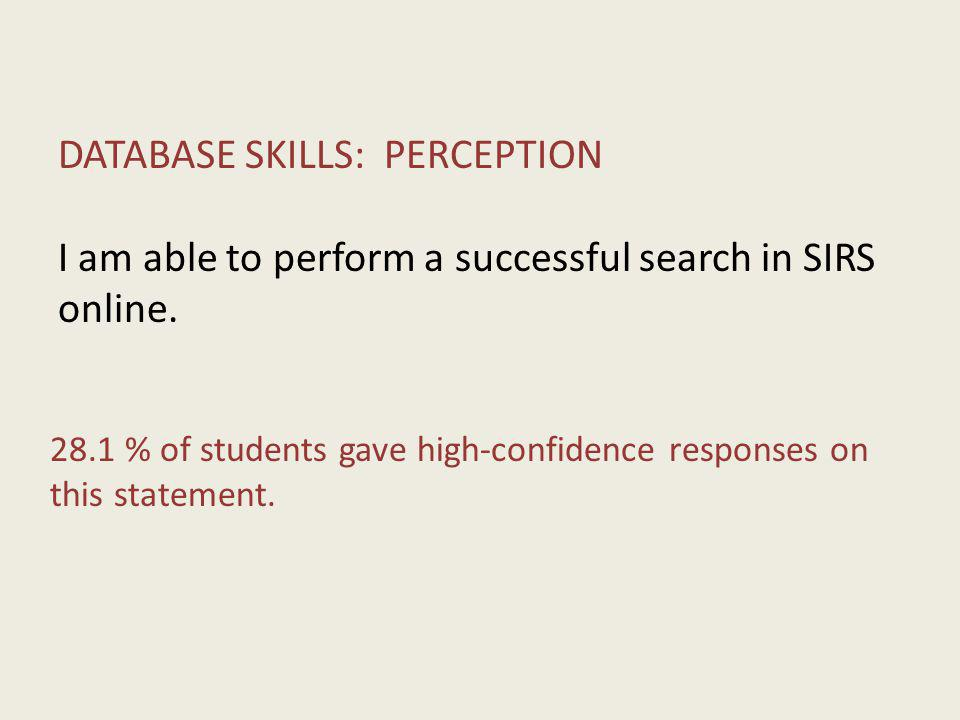 DATABASE SKILLS: PERCEPTION I am able to perform a successful search in SIRS online.